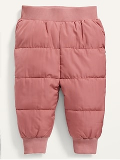 Rib-Knit-Waist Frost Free Puffer Pants for Baby