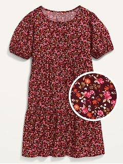 Short Puff-Sleeve Tiered Midi Dress for Girls