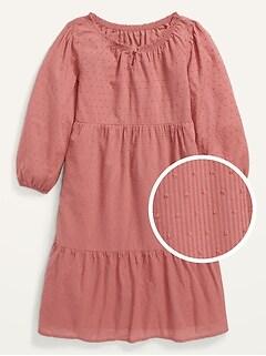 Long-Sleeve Tiered Swiss-Dot Midi Dress for Girls