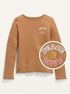 Graphic Rib-Knit Lettuce-Edge T-Shirt for Girls