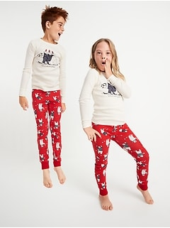 Matching Holiday Graphic Gender-Neutral Snug-Fit Pajama Set For Kids