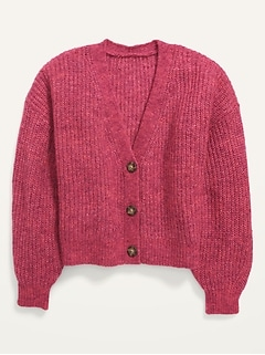 Cropped Button-Front Blouson-Sleeve Cardigan Sweater for Girls