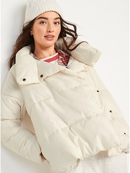 Water-Resistant Double-Breasted Puffer Jacket for Women