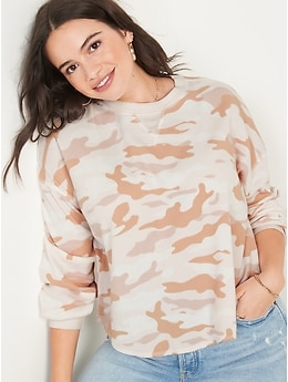 Long-Sleeve Loose Cropped Camo-Print Waffle-Knit Top for Women