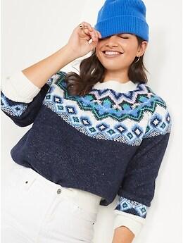 Crew Neck Fair Isle Sweater for Women