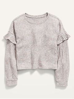 Ruffled Rib-Knit Long-Sleeve Cropped Top for Girls