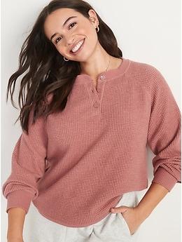 Long-Sleeve Loose Waffle-Knit Henley T-Shirt for Women