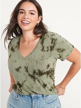 T-shirt luxueux teint par nœuds à col enV pour femme
