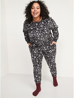 Matching Printed Microfleece Pajama Set for Women