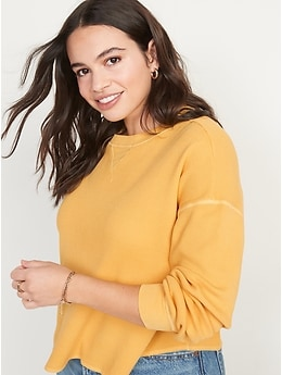 Long-Sleeve Cropped Waffle-Knit Easy T-Shirt for Women