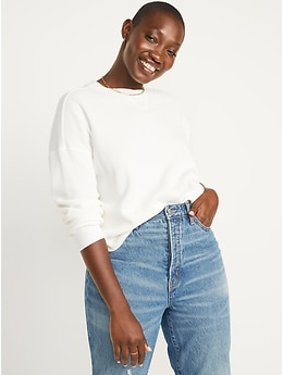 Long-Sleeve Loose Cropped Waffle-Knit Easy T-Shirt for Women