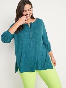 Long-Sleeve Plush-Knit Henley Tunic T-Shirt for Women