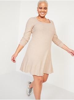Fit & Flare Rib-Knit Long-Sleeve Mini Dress for Women