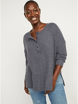 Long-Sleeve Waffle-Knit Henley Tunic T-Shirt for Women