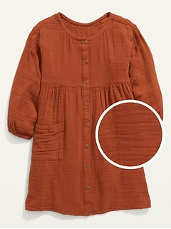 Textured Button-Front Babydoll Dress for Girls