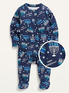 Unisex Matching Printed Sleep & Play Footed One-Piece for Baby