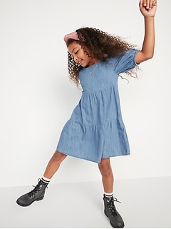 Tiered Puff-Sleeve Jean Dress for Girls