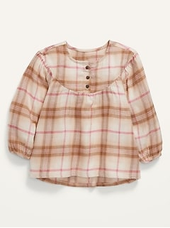 Plaid Flannel Babydoll Tunic Top for Toddler Girls