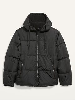 Frost-Free Water-Resistant Hooded Puffer Jacket for Men