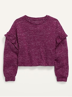 Long-Sleeve Ruffle-Trimmed Mélange Cropped Sweater for Girls