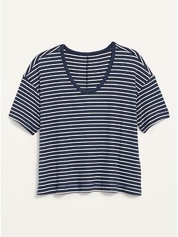 Short-Sleeve Voop Plush Ribbed Easy T-Shirt for Women