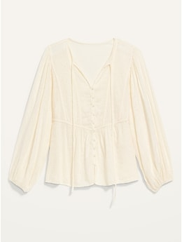 Oversized Embroidered Cutwork Tie-Neck Blouse for Women