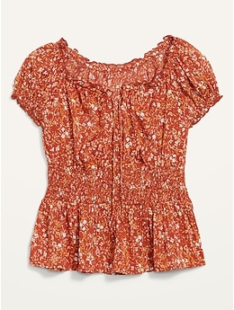 Puff-Sleeve  Floral-Print Smocked Peplum Blouse for Women