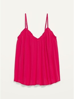 Ruffled Textured-Dobby Cami Top for Women