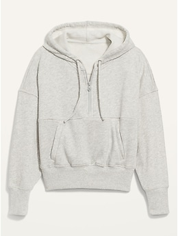 Loose Cropped Quarter-Zip Hoodie for Women