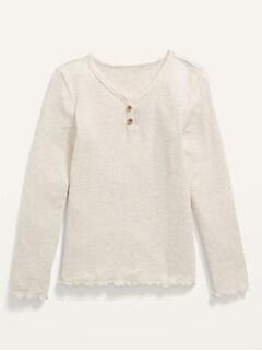 Cozy Slub-Knit Lettuce-Edge Henley T-Shirt for Girls