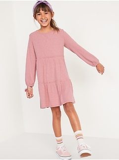 Rib-Knit Tiered Long-Sleeve Dress for Girls