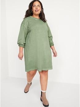 Long-Sleeve Vintage Mini T-Shirt Shift Dress for Women