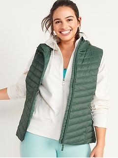 Water-Resistant Narrow-Channel Puffer Vest for Women