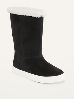Faux-Fur Lined Faux-Suede Boots for Girls
