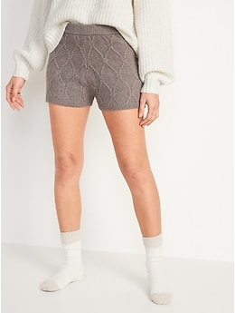 High-Waisted Diamond Stitch Cable-Knit Shorts for Women -- 2-inch inseam
