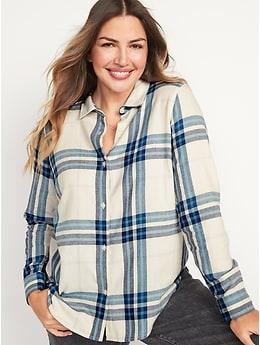 Long-Sleeve Plaid Flannel Shirt for Women