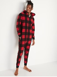 Matching Printed Microfleece Hooded One-Piece Pajamas for Men