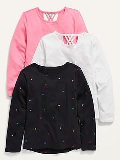 Softest Long-Sleeve Lattice-Back T-Shirt 3-Pack for Girls