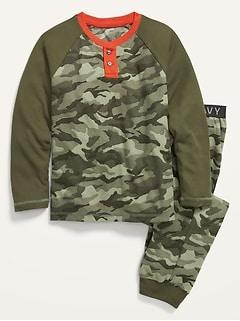 Gender-Neutral Printed Thermal-Knit Long-Sleeve Pajama Set For Kids