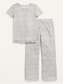 Rib-Knit Space-Dye Wide-Leg Pajama Set for Girls