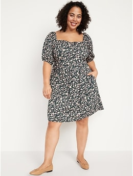 Puff-Sleeve Smocked Floral-Print Mini Swing Dress for Women