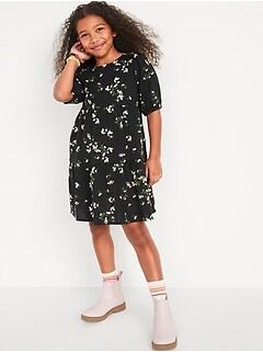 Puff-Sleeve Tiered Midi Dress for Girls