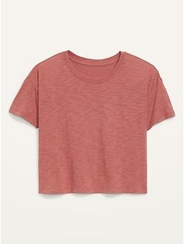Short-Sleeve Crew-Neck Cropped Slub-Knit T-Shirt for Women