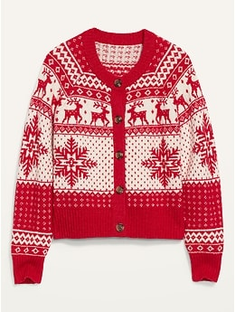 Fair Isle Button-Front Cardigan Sweater for Women