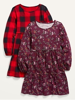 Tiered Printed Long-Sleeve Dress 2-Pack for Girls