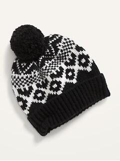 Bonnet en tricot à pompon pour femme